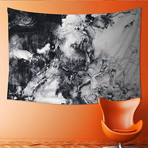 (Printsonne Wall Hanging Tapestries Abstract Hand Black and White Acrylic on Canvas Paper Texture Large tablecloths 80W x 60L Inch)