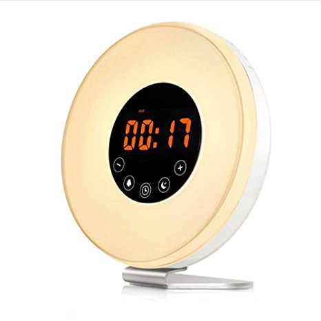 Shuangklei Despertador Despertador Reloj Digital con 6 Sonidos Naturales, Radio FM, 7 Colores De
