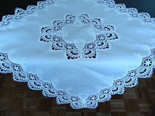 Fine Art Living 813SQ36 Lace Embroidery Table Topper, 36″ Square, White