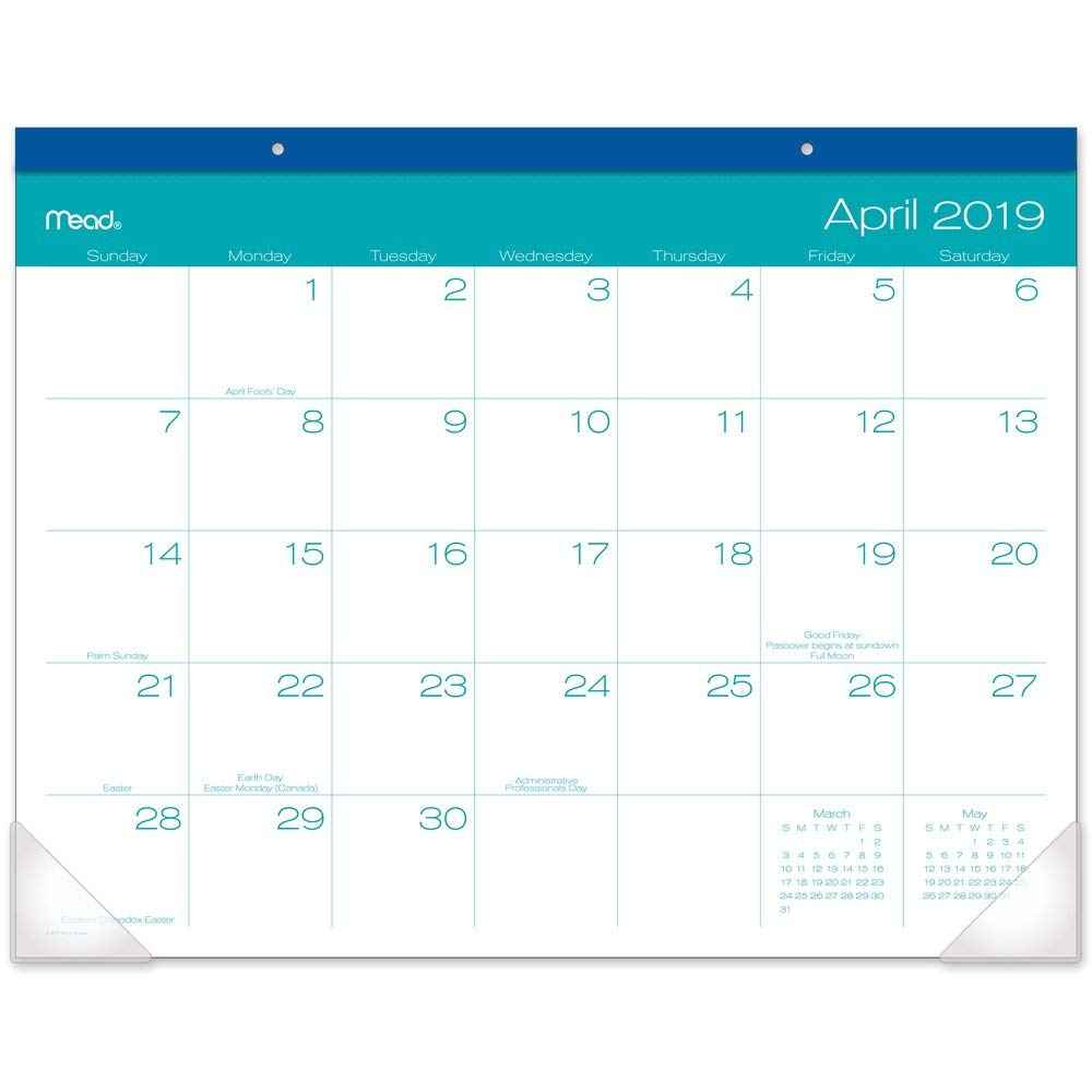 Mead 2019-2020 Academic Year Monthly Desk Pad Calendar, Standard, 21-3/4'' x 17'', Color Pop (D1211-704A) by Mead