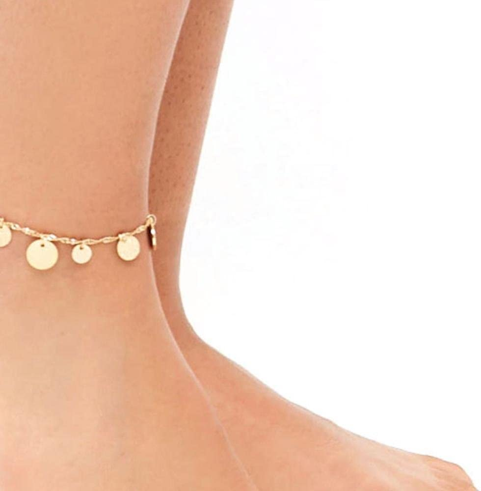 Dixinla Anklet Women beaded metal Luster Beach foot Ornaments
