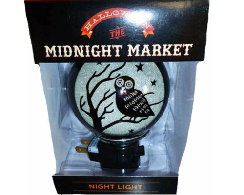 (HALLOWEEN THE MIDNIGHT MARKET NIGHT LIGHT WITH BULB INCLUDED BLACK WITH OWL IN TREE AND STARS)
