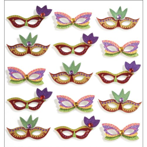 Jolee's Boutique 50-21186 Repeats Dimensional Stickers, Mardi Gras Masks -