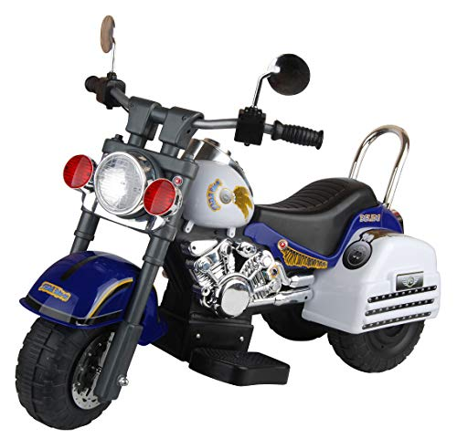 (Merske Harley Style 6V Battery Operated Kids Motorcycle, Blue/White)