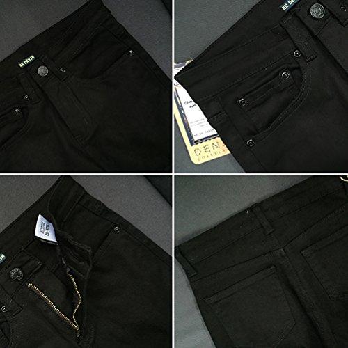 Jeans Dames Extensible Denim Noir Travail Pants Un Fit Dcontracte Denim du Quotidien Vtements Slim Pantalon Crayon Zhuhaitf Le Dchir pour Genou de qSx106t