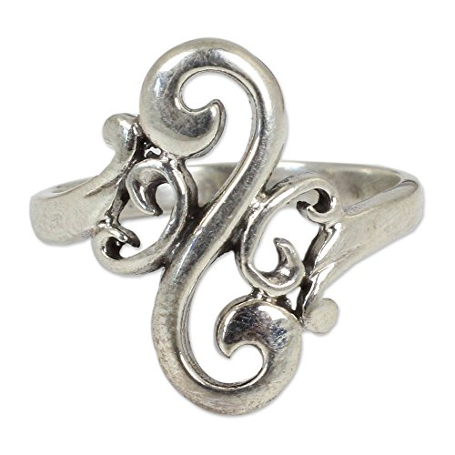 NOVICA .925 Sterling Silver Cocktail Ring, Arabesque Curl'