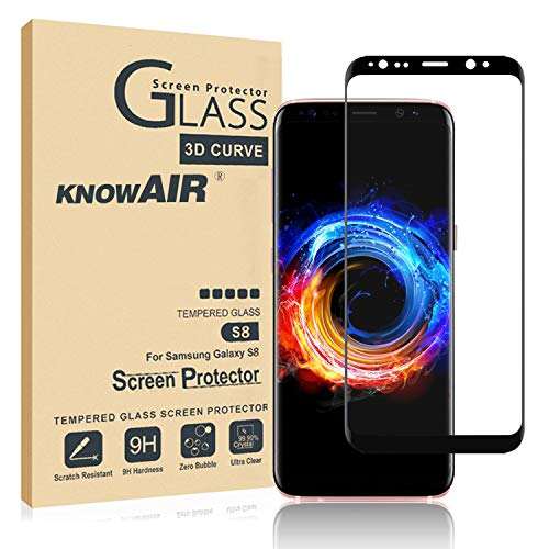 [2 Pack] Galaxy S8 Screen Protector Tempered Glass, [Update Version] KNOWAIR 3D Curved Dot Matrix [Full Screen Coverage] Glass Screen Protector [Case Friendly] for Samsung S8