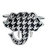 Large Houndstooth Print Elephant Head Hinged Silver Tone Bangle Bracelet