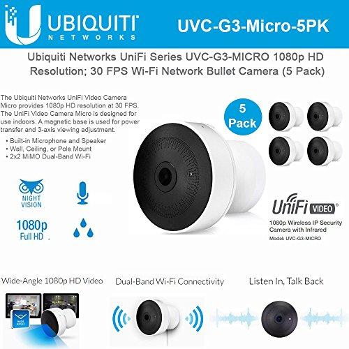 Ubiquiti Network UniFi Series UVC-G3-MICRO 1080p HD Resolution; 30 FPS Wi-Fi Network Bullet Camera (5 Pack)