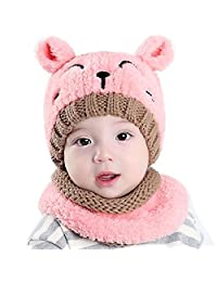 Oyfel Creative Cute Baby Scarf Hats Winter Clothing Children Knit Hat Windproof Scarf Suitable for Boys and Girls 1-3 Years-Old Kids