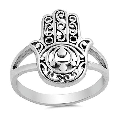 Sterling Silver Hamsa Ring - Filigree Hand of God Hamsa Ring New .925 Sterling Silver Band Size 8