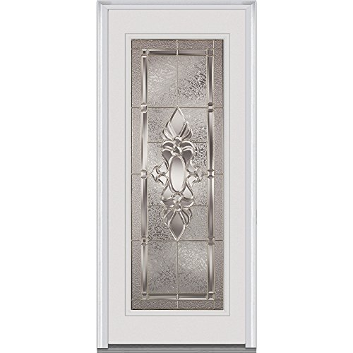 National Door Company Z022200R Fiberglass Smooth, Primed, Right Hand In-swing, Exterior Prehung Door, Heirloom Master Full Lite, 36