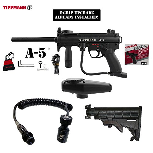 Tippmann A-5 w/ Selector Switch E-Grip Paintball Gun + Pro Push Button Remote Coil w/ Slidecheck & Stock Combo Package - Black (Automatic Coil Selector)