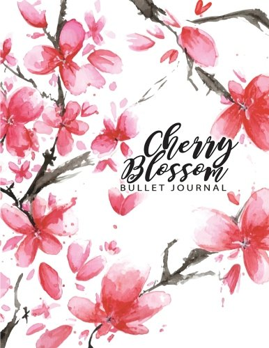 Cherry Blossom Bullet Journal: Pink and White Floral watercolor Notebook, Composition Book, Journal, 8.5 x 11 inch 110 page ,Wide Ruled