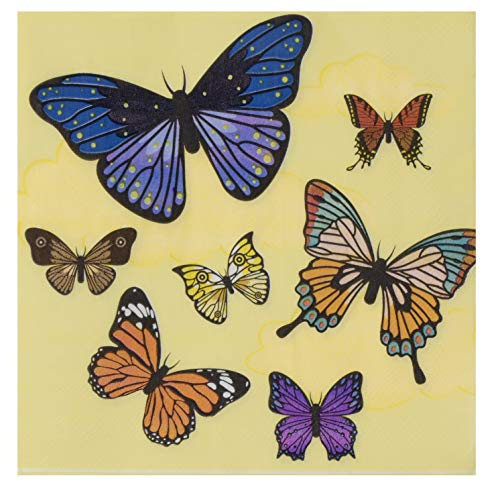 Cocktail Napkins - 150-Pack Luncheon Napkins, Disposable Paper Napkins Kids Birthday Party Supplies, 2-Ply, Butterfly Design, Unfolded 13 x 13 Inches, Folded 6.5 x 6.5 Inches