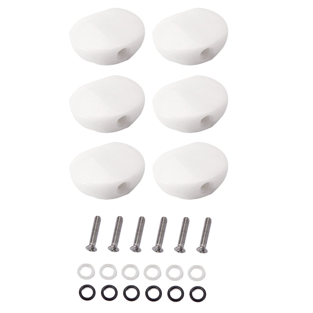 Homyl Set of 6 Acrylic Tuning Key Peg Tuning Keys Knobs Buttons with Screws Gaskets for Acoustic/Electric Guitar White HZFDYQ090062154264