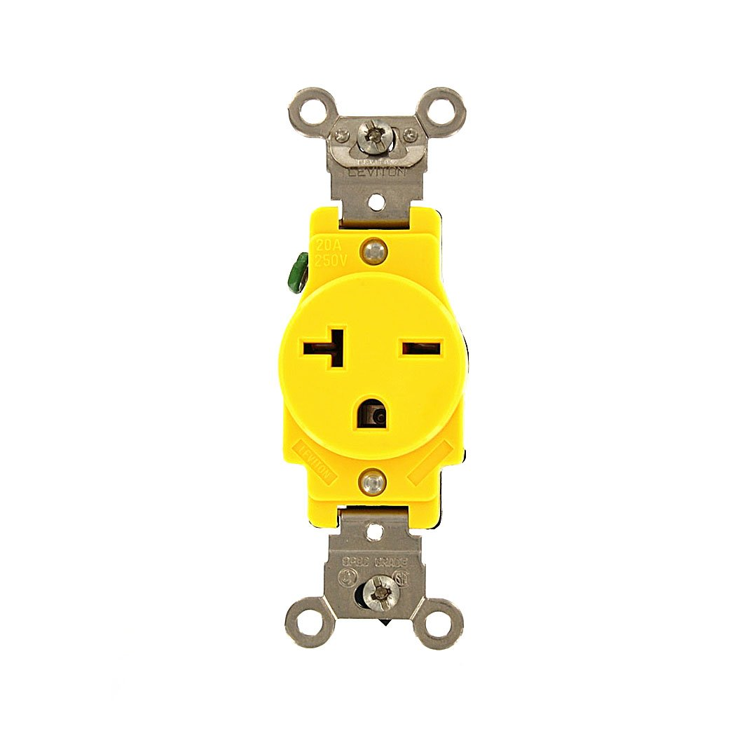 Leviton 5461-CR 20 Amp, 250 Volt, Narrow Body Single Receptacle, Industrial Grade, Grounding, Corrosion Resistant, Side Wired, Yellow