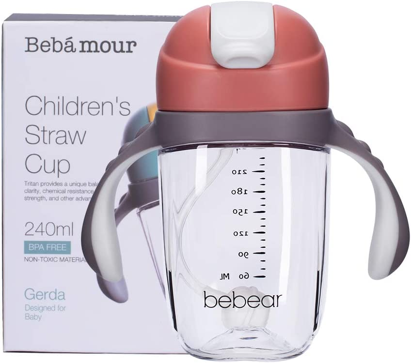 Green, 240ml Bebamour Straw Sippy Cup Spill-Proof Baby Water Bottle with Straw for Toddlers Straw Bottle with Handles