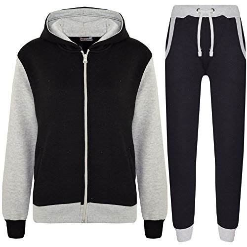 Kids Boys Girls Tracksuit Fleece Hooded Top - T.S Plain 101 Grey 9-10