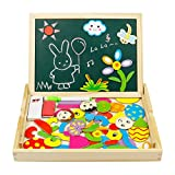 yoptote Wooden Magnetic Easel Drawing Board Games jigsaw Puzzles Double Sided Educational Toys for Kids Toddlers Girls Boys 3 4 5 6 Years Old