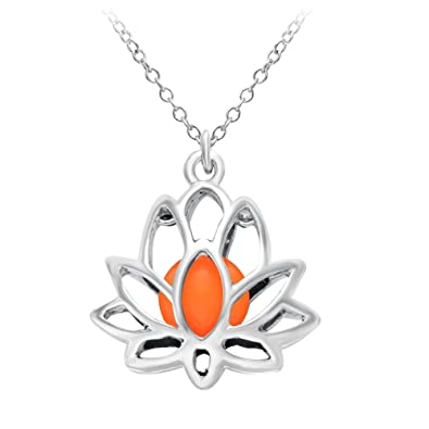 Amazoncom Noumanda Romantic Luminous Lotus Flower Necklace