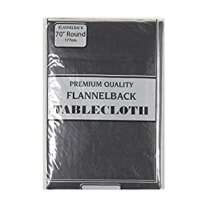 Awesome Carnation Home Fashions Vinyl Tablecloth With Polyester Flannel Backing, 70 Inch  Round, Black