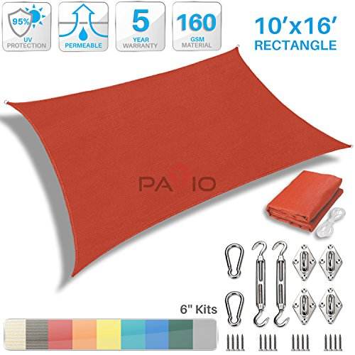 UPC 709180704974, Patio Paradise 10' x 16' Sun Shade Sail with 6 inch Hardware Kit, Red Rectangle Patio Canopy Durable Shade Fabric Outdoor UV Shelter Cover - 3 Year Warranty - Custom Size Available