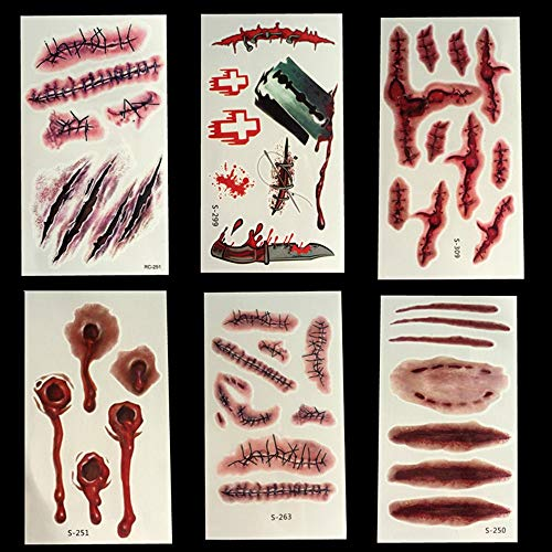 Party Diy Decorations - 10 Sheets Simulation Halloween Zombie Scars Tattoos Fake Scab Blood Wound Scar Sticker Makeup Props - Makeup Cosplay Decor Prop Paint Christmas Sticker White Face -