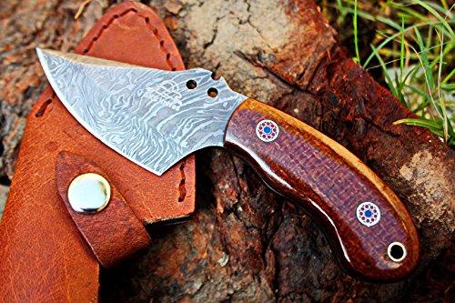 DKC-89-DS-VORTEX-Fixed-Hunting-Skinner-Knife-Damascus-Steel-Mahogany-Micarta-6-Long-3-Blade-6-oz-DKC-Knives