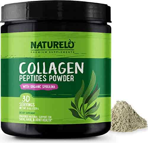 NATURELO Collagen Peptides Powder - Best Supplement for Skin, Hair, Joint Health - Organic Spirulina - 14 Amino Acids - Grass Fed - Hydrolyzed - Digestive Enzymes for Better Absorption - 30 Servings