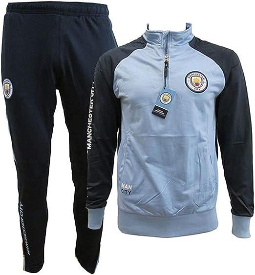 Manchester City F.C. Chándal Pantalones y Chaqueta Original con Licencia Oficial Jumpsuit Tracksuit: Amazon.es: Ropa y accesorios