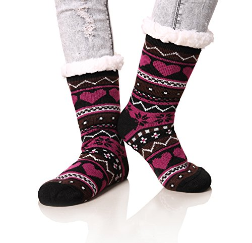 Dosoni Women's Snowflake Fleece Lining Knit Christmas Knee Highs Stockings Slipper Socks (Black)