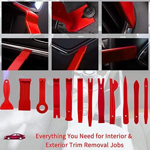 Wetado Trim Removal Tool, 200PCS Trim Tool Auto Removal Kit, Plastic Panel Fastener Removal Tool, Trim Removal Kit for Car/Trim/Panel/Door/Audio/Auto Clip Pliers/Terminal Removal Tool Kit (Red)