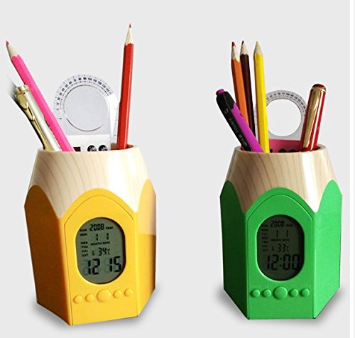 Pen Cup Clock (Soondar 2-IN-1 Super Cute Alarm Clock and Pencil Top Design Pen Pencil Stand Holders Cup, Green)