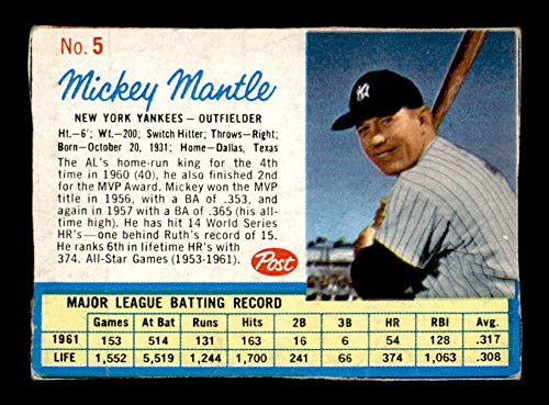 1962 Post #5 Mickey Mantle G/VG X1623338