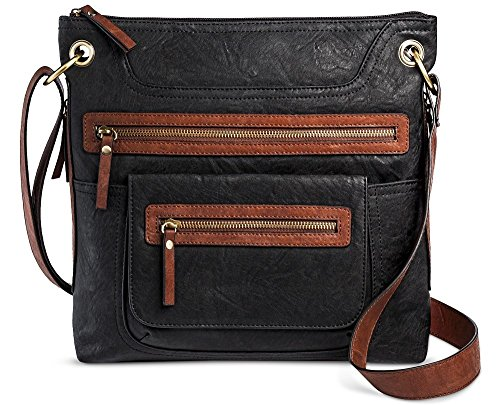 Bueno Women's Faux Leather Crossbody Bag (Black/Brown)