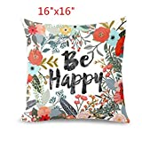 GBSELL Pillow Cover Owl Thanksgiving Turkey Cock Hen Pillow Case Sofa Throw Cushion Cover Home Decor,45cm45cm (Happy)