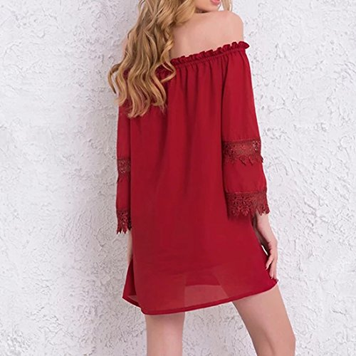 Red Mini Women's Shoulder Neck Loose Lace Dress Slash Shift Off Patchwork wq67vxgq
