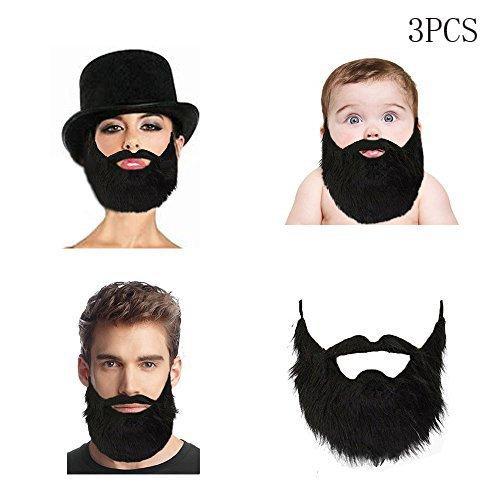 Lautechco 3pcs Fake Beard Black Bearded Man Funny Mustache Beard Flannel Halloween Party Props Masculine