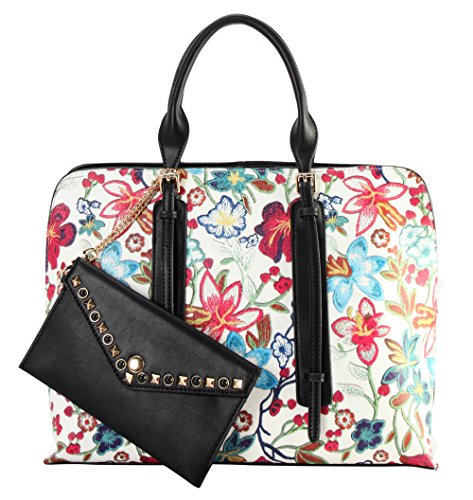 Diophy PU Leather Floral Embroidered Printed Pattern Large Tote Handbag Accented with Studded Décor Wallet OC-6468