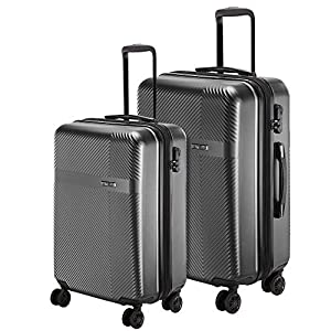Nasher Miles Fifth Avenue Expander Hard-Sided Polycarbonate Luggage Set of 2 Black Trolley Bags (55 & 65 cm)