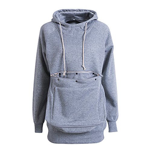 (Unisex Long Sleeve Big Kangaroo Pet Pouch Hoodie Pet Cat Small Dog Holder Sweatshirt (XL, Grey))