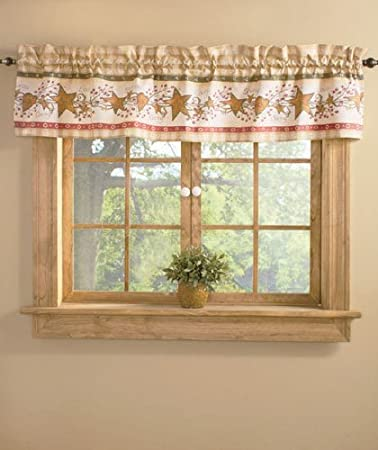 Knlstore Linda Spivey Hearts And Stars Berries Country Primitive Plaid Check Window Curtain Valance