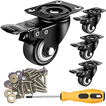 2 inch Casters Set of 4 with Brake Mute and Floor Protection Noise Swivel NEW