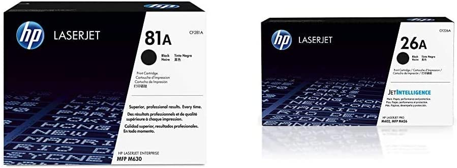 HP 81A | CF281A | Toner Cartridge | Black & 26A | CF226A | Toner Cartridge | Black