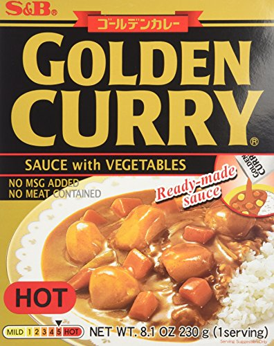 S&B Golden Curry Sauce with Vegtables, Hot, 8.1-Ounce Boxes (Pack of 5)