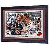 S&E DESING Michael Schumacher Sebastian Vettel Signed Autograph Photo Print Framed MDF