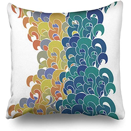 Anmbsk Throw Pillow Case Waves Colorful Textures Storm Abstract Art Square Size 18 x 18 inches Decorative Pillow Cases Home Decor Zippered Cushion Pillowcases