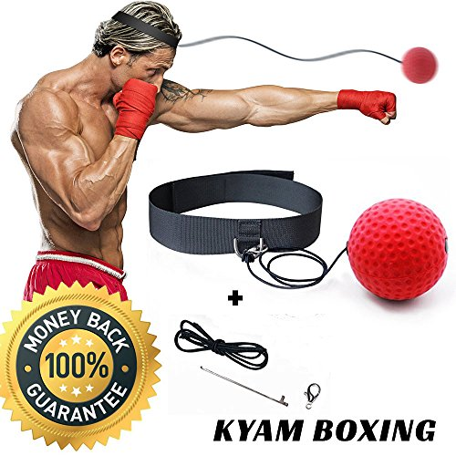 Boxing Reflex Fight Ball Trainer - Perfect to Improve Speed, Hand Eye Coordination & Punching Accuracy - Get In Shape & Have Fun - Headband Fits All - Reaction Trainer Great for Boxing, MMA & Fitness