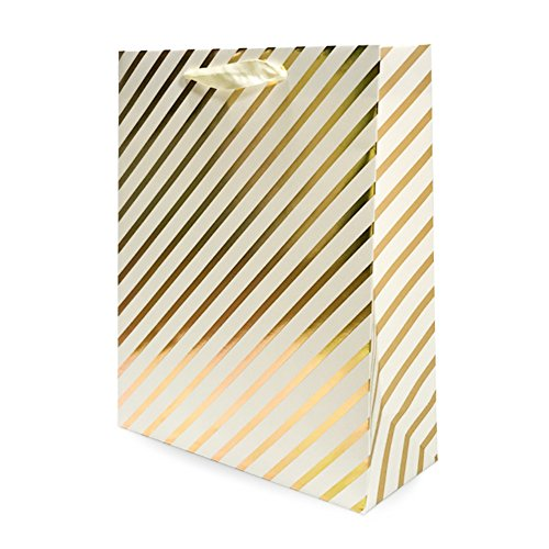 UNIQOOO 12Pcs Premium Assorted Gold Metallic Gift Bags Bulk Large 125x10